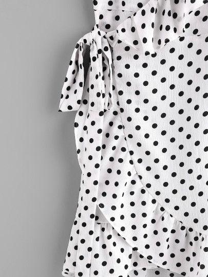 Polka Dot Wrap Self Tie Waist Frill Cami Dress