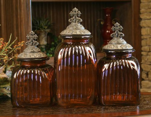 Amber Glass Canister Set With Cross Lids 3 Pc Set Tall, Tall, Tall Not Food  Safe U2013 Decorative Purposes Only