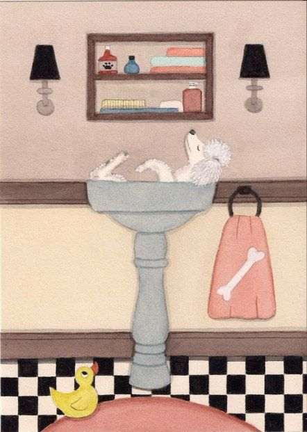 Poodle fills sink at bathtime / Lynch signed by watercolorqueen, $12.99