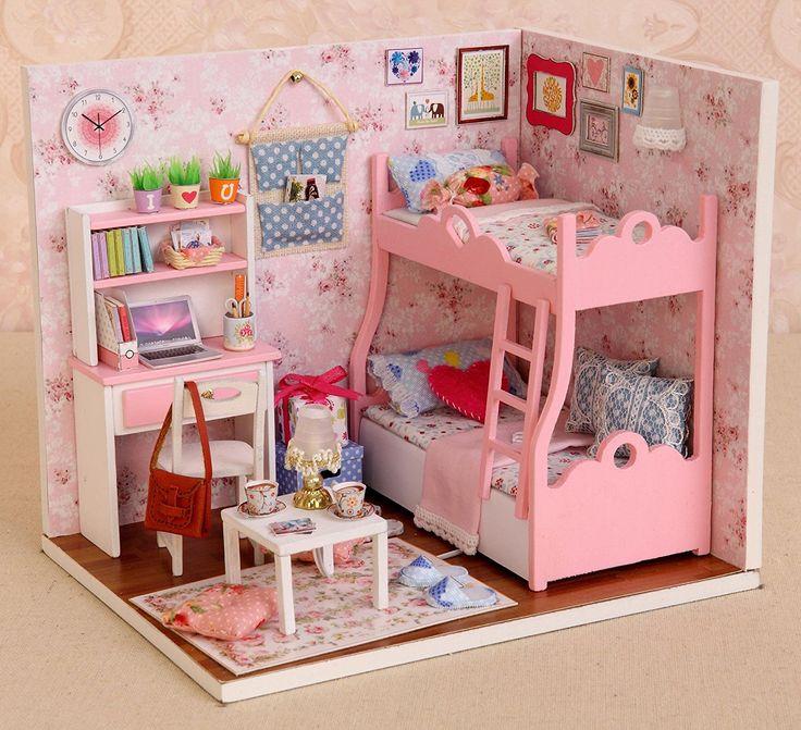 Amazon.com: Cuteroom Wood Dollhouse Miniature Kit DIY Doll