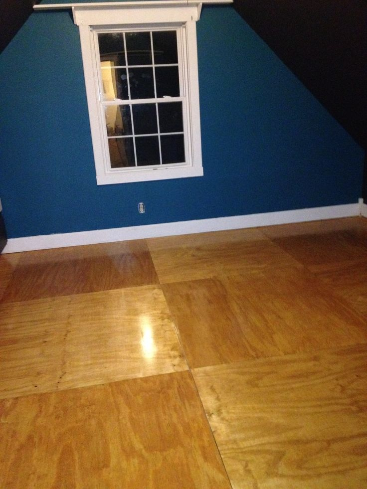 Isaiah's Room: Finished Plywood Flooring.  15x15 with total cost at under $200