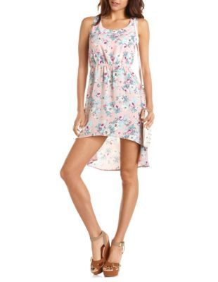 strappy back floral hi-low dress