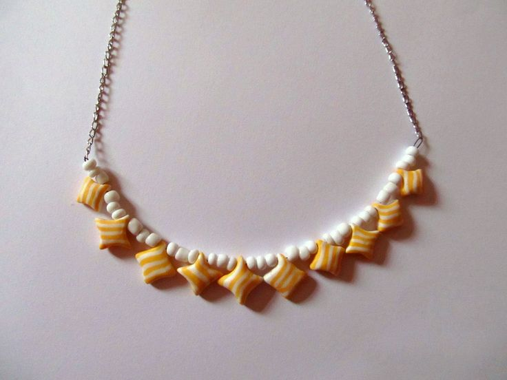 yellow puff pillow necklace #clay