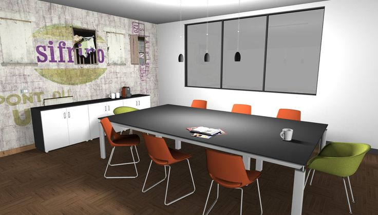 Modern interior design - Meeting room, table with black top and metal legs, orange anc green chairs with metal structure, low cabinet black and white, wallpaper glamora, wooden floor - Sala riunioni, tavolo con piano nero e gambe in metallo, sedie arancioni e verdi con struttura cromata, mobile basso bianco e nero, carta da parati glamora, pavimento in legno