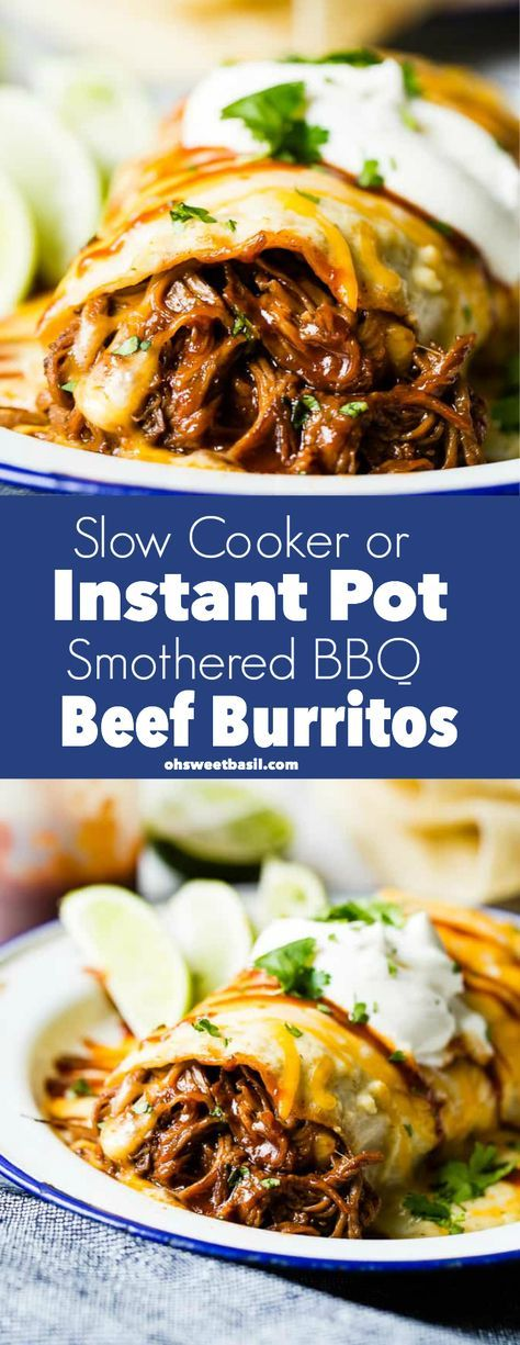 A happy accident when one recipe turned into the most delicious #SlowCooker or #InstantPot Smothered #BBQ #Beef #Burritos! The creamy salsa verde sauce is amazing! via @ohsweetbasil