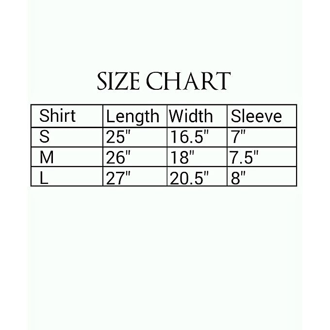 supreme size chart t shirt