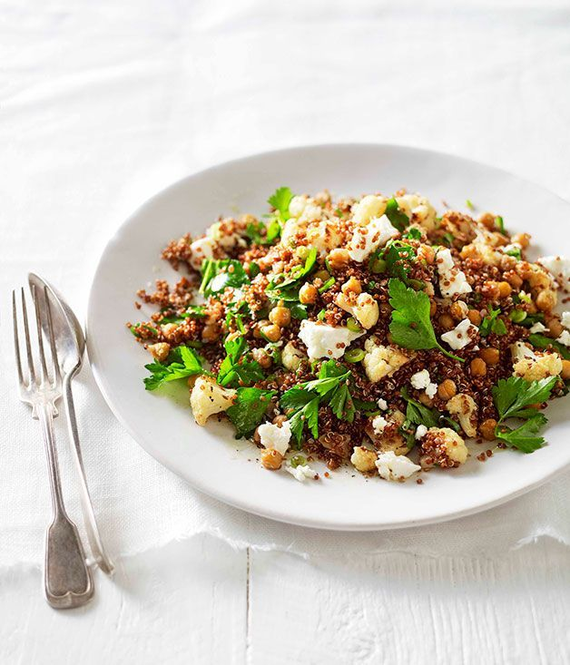 Australian Gourmet Traveller recipe for warm roast cauliflower, chickpea and quinoa salad.