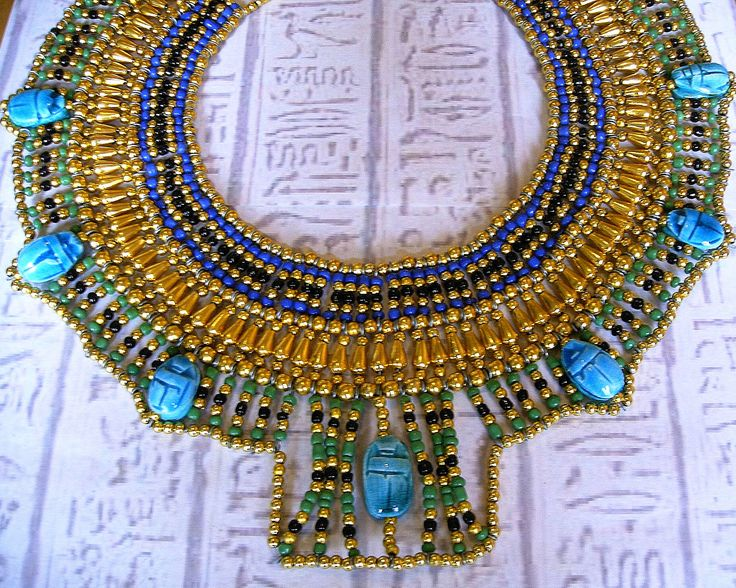 Egyptian Collar Cleopatra necklace Egyptian by SeaGlassJewelryEtsy