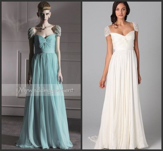 Custom Cap Sleeve Sweetheart Wedding Dress Gown Pearl Bridesmaid Prom Party