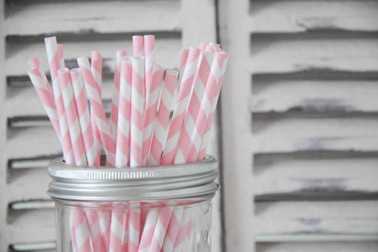 Light Pink Striped Paper Straws - Teelee - A Bits & Bobs Brand