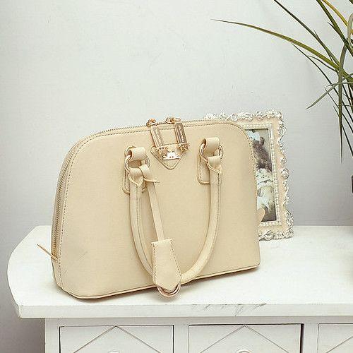 Fashion Zipper Beige PU Shoulder Bag_Shoulder Bags