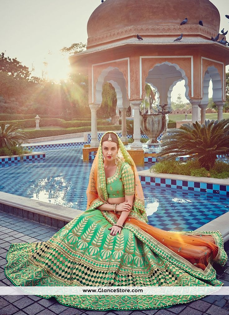 Swanky Sea Green Patch Border Work Raw Silk A Line Lehenga Choli
