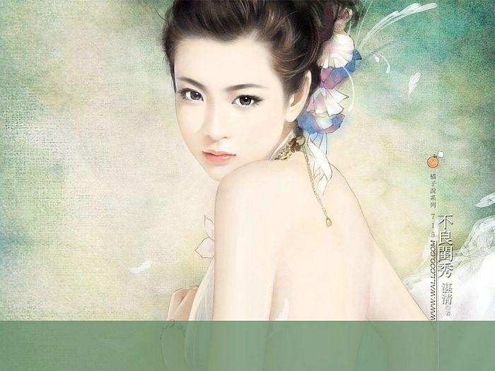 Angelic Sweet Girl  - Beautiful Chinese Girl Painting Wallpaper  5