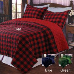 @Overstock.com.com - Western Plaid Red King-size 3-piece Quilt Set - In cozy cotton plaid, this king quilt set adds a touch of comfortable, rustic appeal. This bedding set is available in a number of popular color combinations and includes a reversible king-size quilt plus a pair of matching pillow shams.  http://www.overstock.com/Bedding-Bath/Western-Plaid-Red-King-size-3-piece-Quilt-Set/4493298/product.html?CID=214117 $104.99