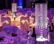 Chandelier table centres By Julia Charles event management