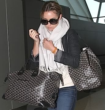 The perfect travel look... by Lauren Conrad - shades, jeans, tee, scarf, jacket and goyard.