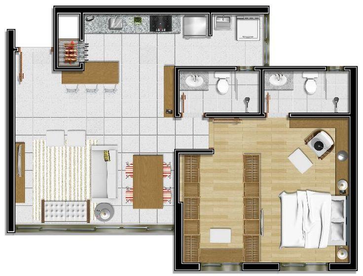 Planta de loft com uma suite e closet pesquisa google - Apartamentos tipo loft ...