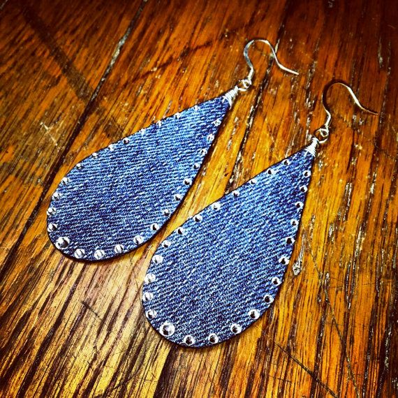 Denim Earrings Raindrop Swarovski Rhinestone by maidendenim, $21.00