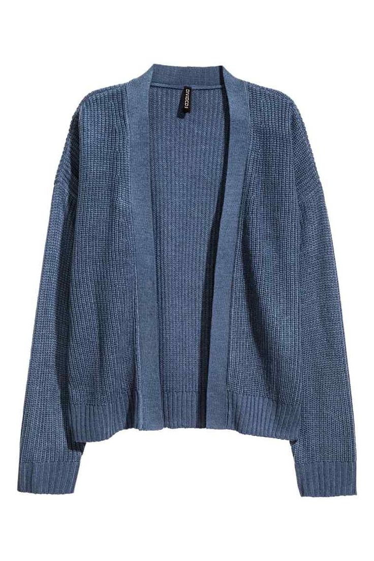 Rib-knit cardigan: Cardigan in a soft rib knit with a V-neck and no buttons.