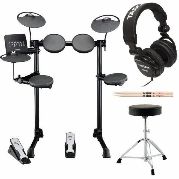 Yamaha DTX400K Customizable Electronic Drum Set with Drum Throne, Vic Firth 5A Drumsticks and Stereo Headphones