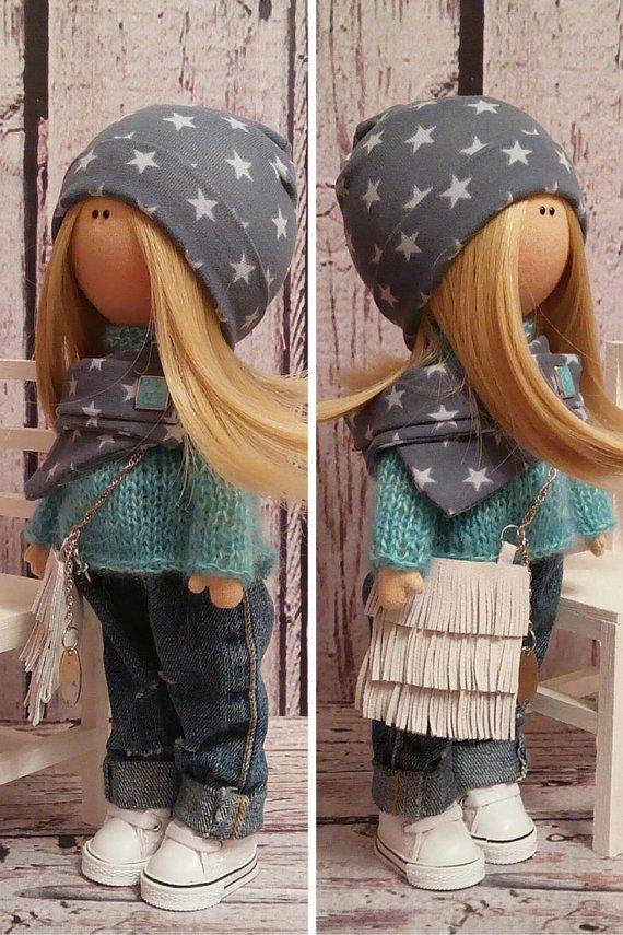 Muñeca de trapo muñeca muñeca Tilda arte por AnnKirillartPlace