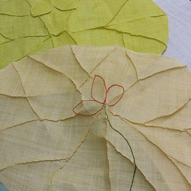 모시다포 #모시#ramie #연잎다포#연꽃#여름 #꼬집기기법 #보자기 #규방공예 #니들스튜디오 #koreapatch #embroidery #