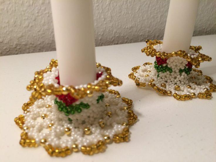 Ljusmanschetter gjorda av pärlor via Morfars lada. Click on the image to see more!