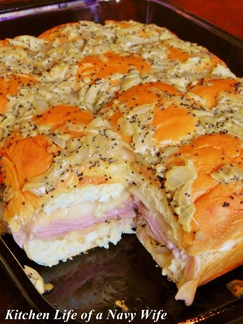 'Hawaiian Baked Ham and Swiss Sandwiches' Source: King's Hawaiian  Ingredients  1 12 pack of King's Hawaiian Original Rolls 1 lb. deli ham, shaved 1 lb. Swiss cheese, thinly sliced 1 1/2 sticks butter 3 tablespoons Dijon mustard 1 1/2teaspoons Worcestershire sauce 3 teaspoons of poppyseeds 1 onion, chopped
