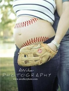 Gender reveal - baseball this would be too cool if Lil Monk is a boy with an Easton glove, obvi without a Dad in the back though