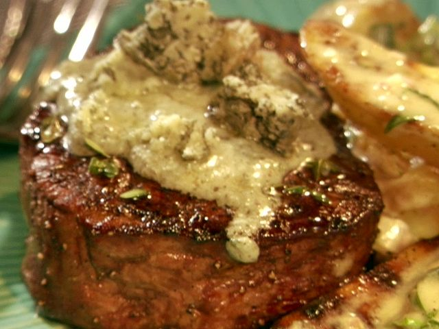 Grilled Filet with Blue Cheese Butter from FoodNetwork.com...Father's Day, perhaps?