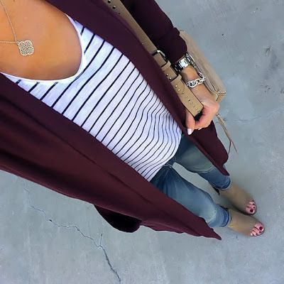 Striped Tee, Burgundy Cardigan | On the Daily EXPRESS – Instagram: @ontheDailyX …