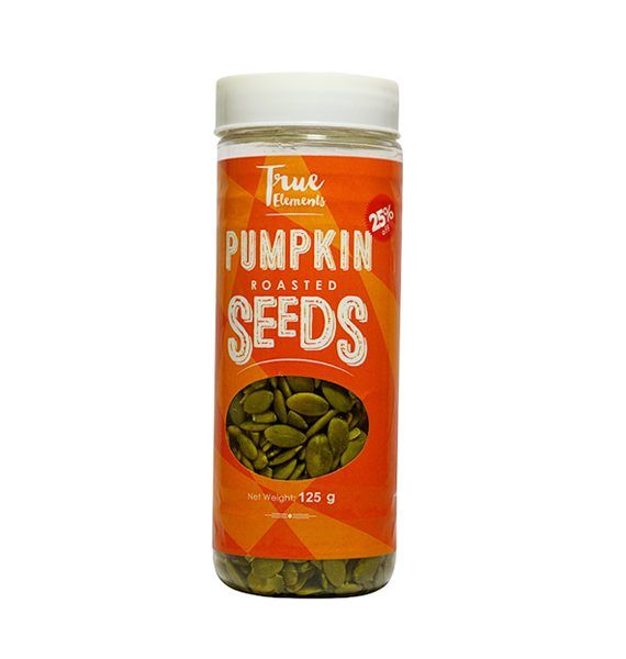 True Elements Roasted Pumpkin Seeds are edible seeds, you can consume this seeds as a healthy alternative for Junk foods. It is an ideal healthy bite when you are in a mood of eating a softly crunchy and nutritionally delicious snack which does not harm your body in any way.