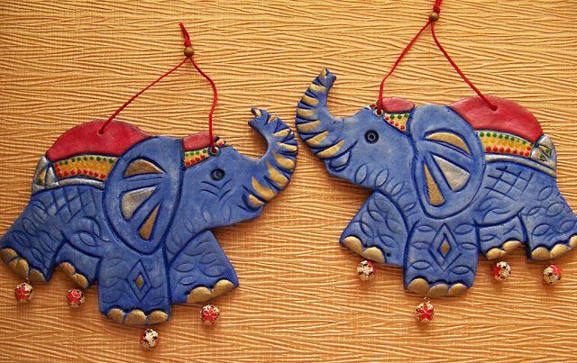 Поделки из солёного теста: Индийские слоны