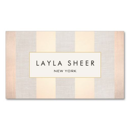 Chic Interior Designer Striped Beige Light Copper. Great card for interior designers, event planners, beauty consultants, hair salons, fashion boutiques and more. Fully customizable and ready to order. customizable business cards | cheap business cards | cool business cards | Business card templates | unique business cards