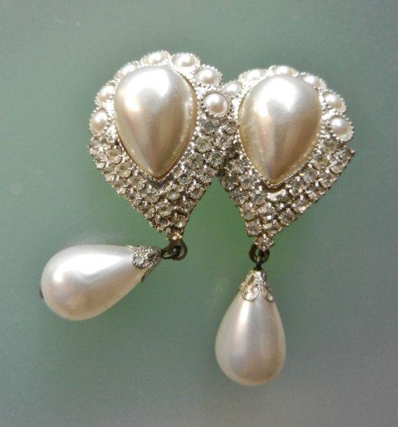 Long Dangling Pearl Earrings  1960s wedding by RAKcreations