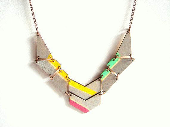 Silver & Neon Geometric Necklace, Wood Triangles Bib,Wood Tribal Necklace,Geometric Jewelry
