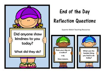 50 reflection questions / prompts for the end of the school day.50 questions displayed on your choice of cards or strips.Provided in black/white and colour.UK and US spelling (only affected one word  favourite/favorite)2 cards displayed on each page.16 strips displayed on each page.Included:   50 questions on cards - colour  50 questions on card  black and white  50 questions on strips - colour  50 questions on strips  black and white  Additional cards/strips for US spellingA variety of…
