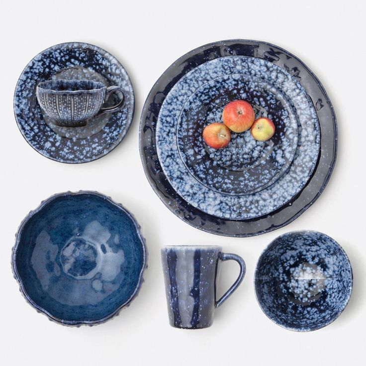 A bold tie-dye-like pattern paired with a sea urchin-esque texture makes the Isla one of our most eye-catching collections. The two indigo color shades vary from plate to bowl to cup and saucer for an inherently eclectic tabletop. Mix and match the Portugal-made stoneware with minimal, white pieces to see the rich hues sing.  Material: Stoneware  **Natural variation to be expected.**  Microwave Safe, Dishwasher Safe, Oven Safe, Freezer Safe  Dimensions:  -Spotted Navy Finish Dinner...