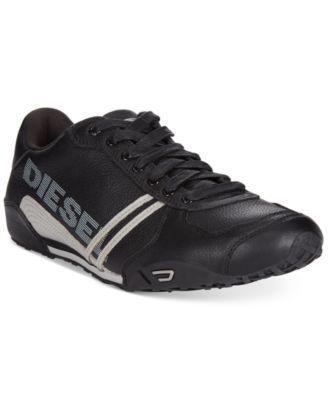 Diesel Men'S Harold Solar Leather Sneakers, Black