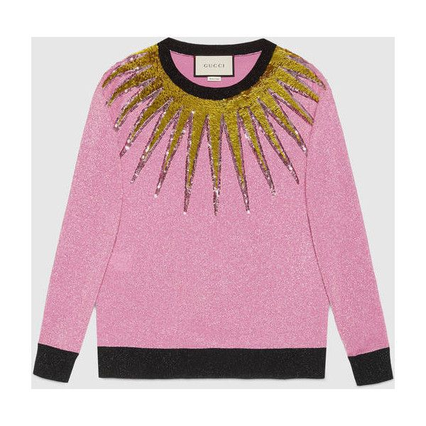 Gucci Embroidered Lurex Knit Top ($1,250) ❤ liked on Polyvore featuring tops, fuchsia, gucci, embroidered top, pink sequin top, sequin embellished top and knit top