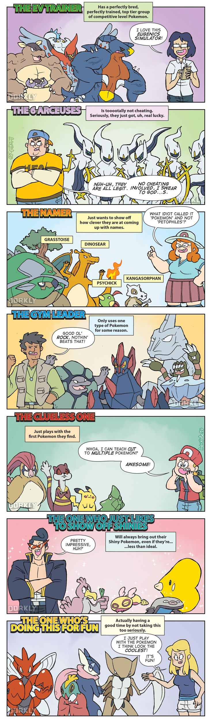 """""""The 7 Types of Pokemon Players"""" #dorkly #geek #pokemon<<<I'm the second and second to last one XD"""