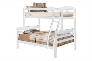 White Twin/Full Solid Wood Bunk Bed at GoWFB.ca | Walker Edison | Free Shipping