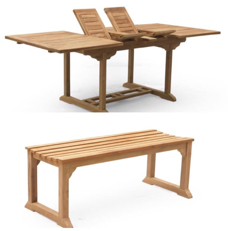 Teak outdoor furniture, double extension table and bench