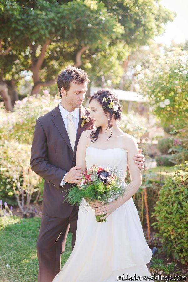 Bridal ivory dress groom white shirt.