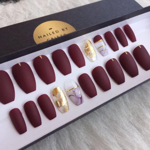 Matte Burgundy press on nails with gold leaf and marble accent nails.  #bridemaids