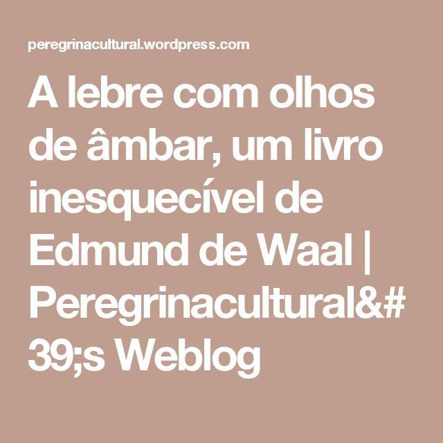 A lebre com olhos de âmbar, um livro inesquecível de Edmund de Waal | Peregrinacultural's Weblog