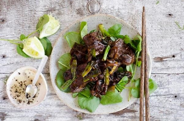 Vietnamese shaken beef and watercress with lime dipping sauce