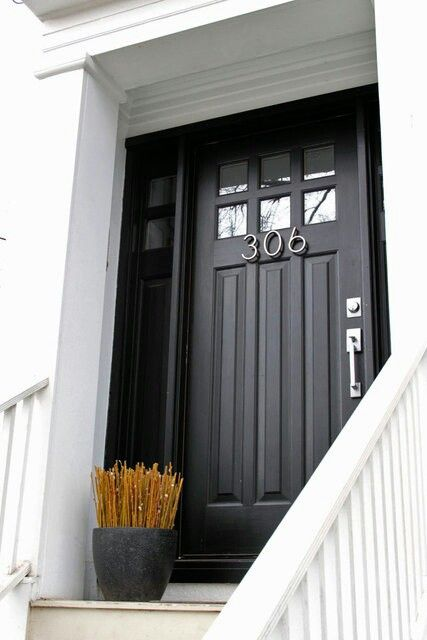 black front door w/top window