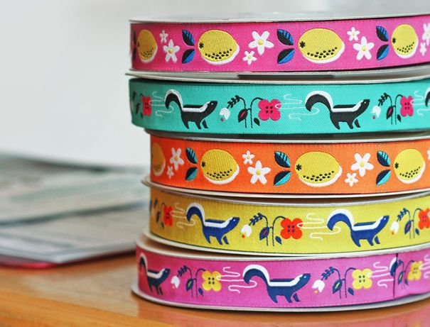 Skunks, lemons, flowers, sewing machines, and more! Jacquard ribbon designs by Jessica Jones for Renaissance Ribbons, a wholesale manufacturer who sells pretty ribbon to shops around the world. To purchase by the spool or the yard, visit RenaissanceRibbons.com