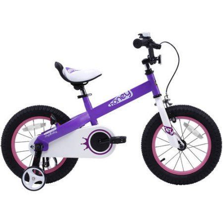 RoyalBaby Honey Kid's bike, unisex children's bike with training wheels, various trendy features, gifts for fashionable boys & girls, 12 inch wheels, Lilac, Purple
